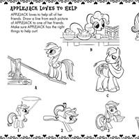 Kolorowanka: Applejack uwielbia pomagać