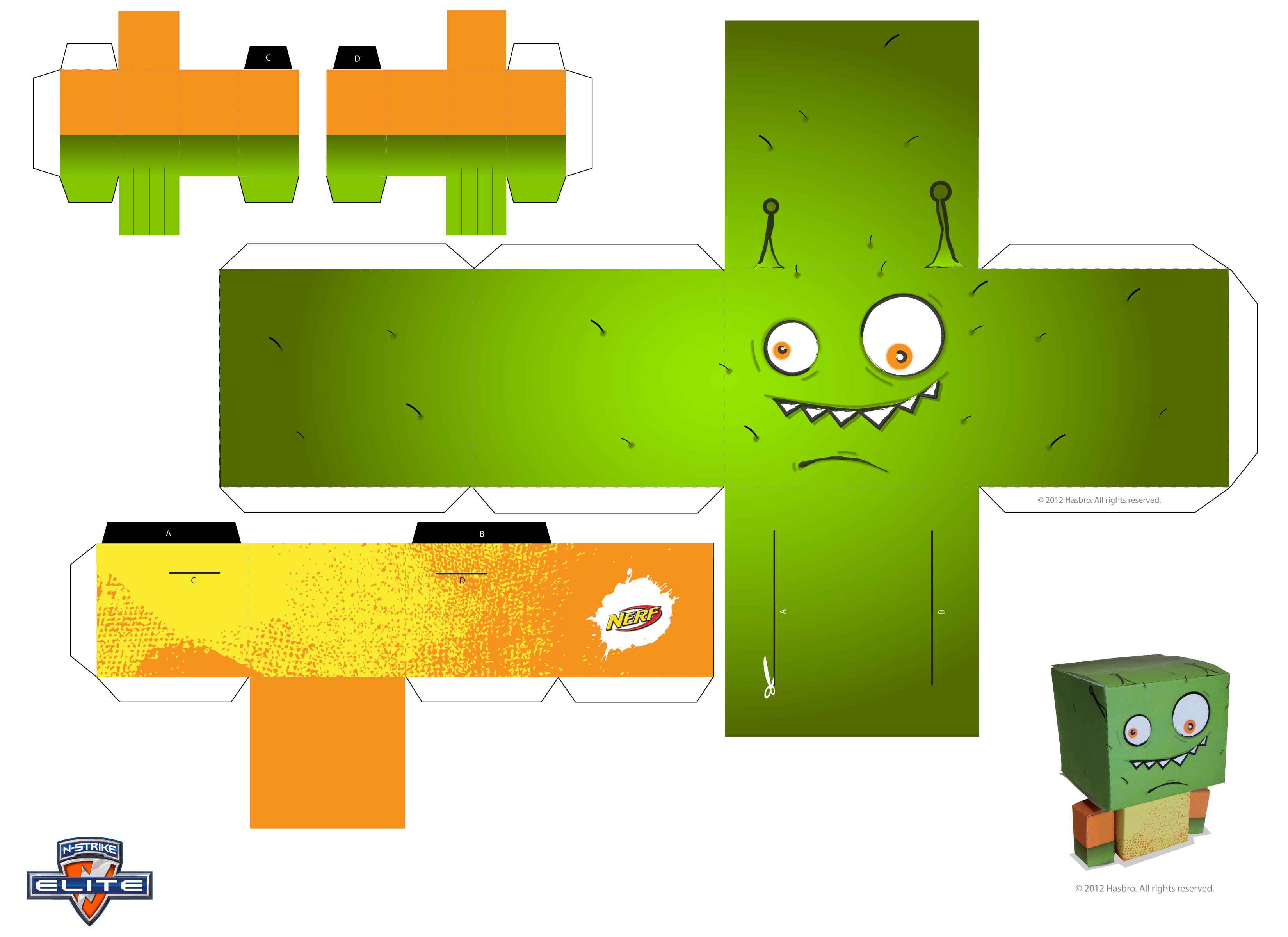 Nerf Paper Craft Target Alien Printable Download