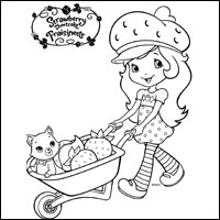 STRAWBERRY SHORTCAKE - Strawberry Shortcake and Custard Colouring Page