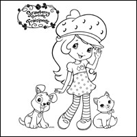 STRAWBERRY SHORTCAKE - Strawberry Shortcake, Pupcake, and Custard Colouring Page