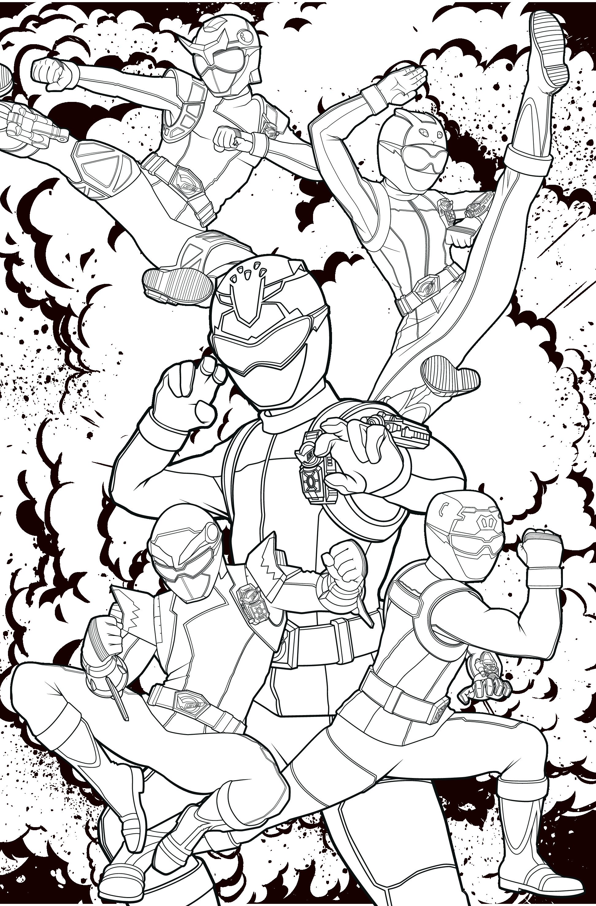 POWER RANGERS - Coloriage 5 Power Rangers 08