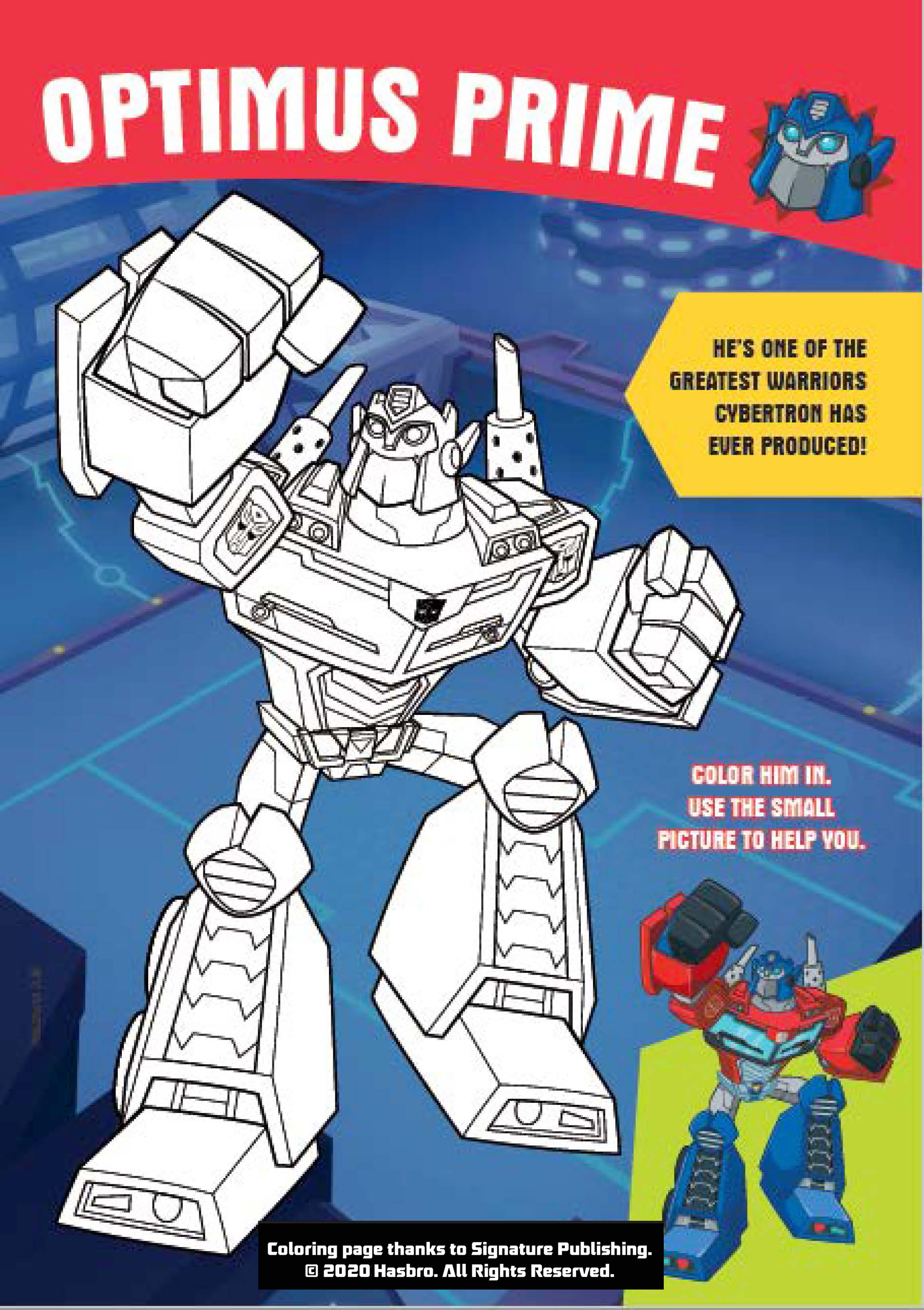 Optimus Prime: Rescue Bots Academy Coloring Sheet