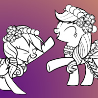 Coloring Page: Fluttershy, Rarity, Rainbow Dash and Applejack
