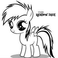 MY LITTLE PONY Young Rainbow Dash Coloring Page