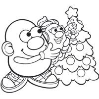 MR. POTATO HEAD Tree Decorating Coloring Page