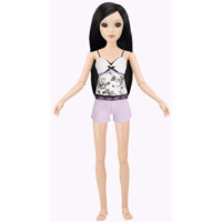 Lorifina doll -- Ivory skin, Brown eyes, Black long layers