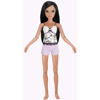Lorifina doll -- Bronze skin, Brown eyes, Black long layers