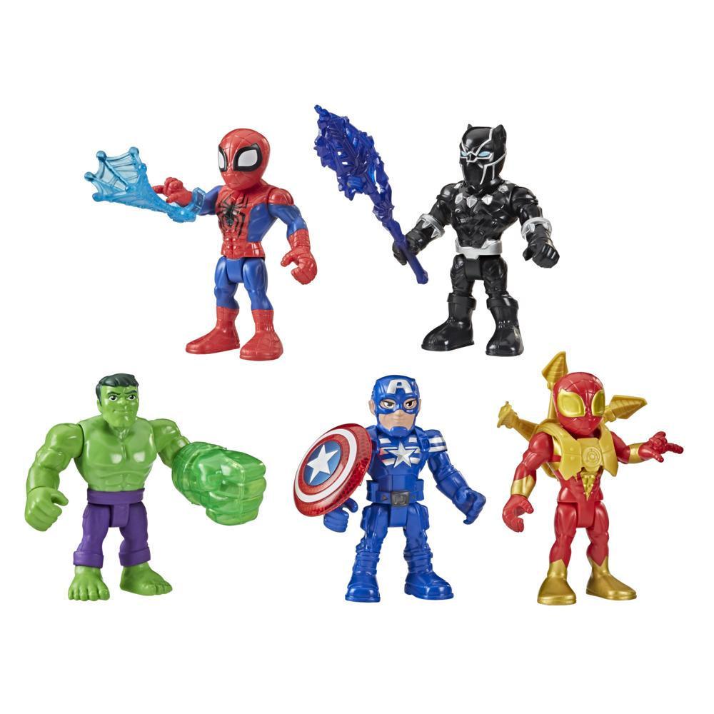 Playskool Heroes Marvel Super Hero Adventures-pakke med 5 figurer. Indeholder Captain America, Spider-Man, 5 stk. tilbehør. Fra 3 år