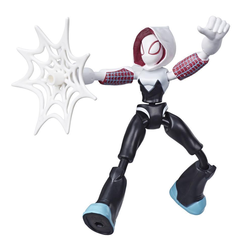 Marvel Spider-Man Bend and Flex Ghost-Spider-actionfigur, 15cm høj bøjelig figur, nettilbehør medfølger, fra 4år