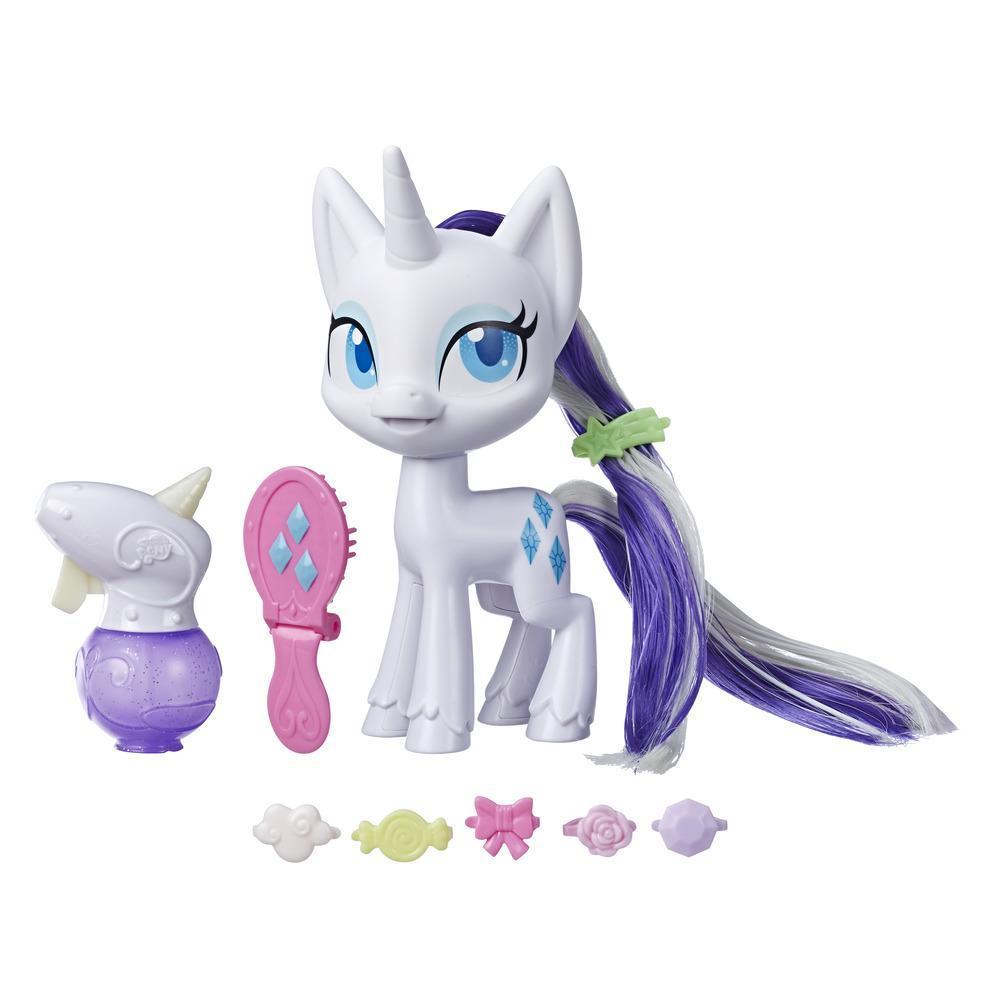 My Little Pony Magical Mane Rarity, hårstylingspony på 16,5cm med hår, der vokser og skifter farve, 10 stk. skjult tilbehør i pose