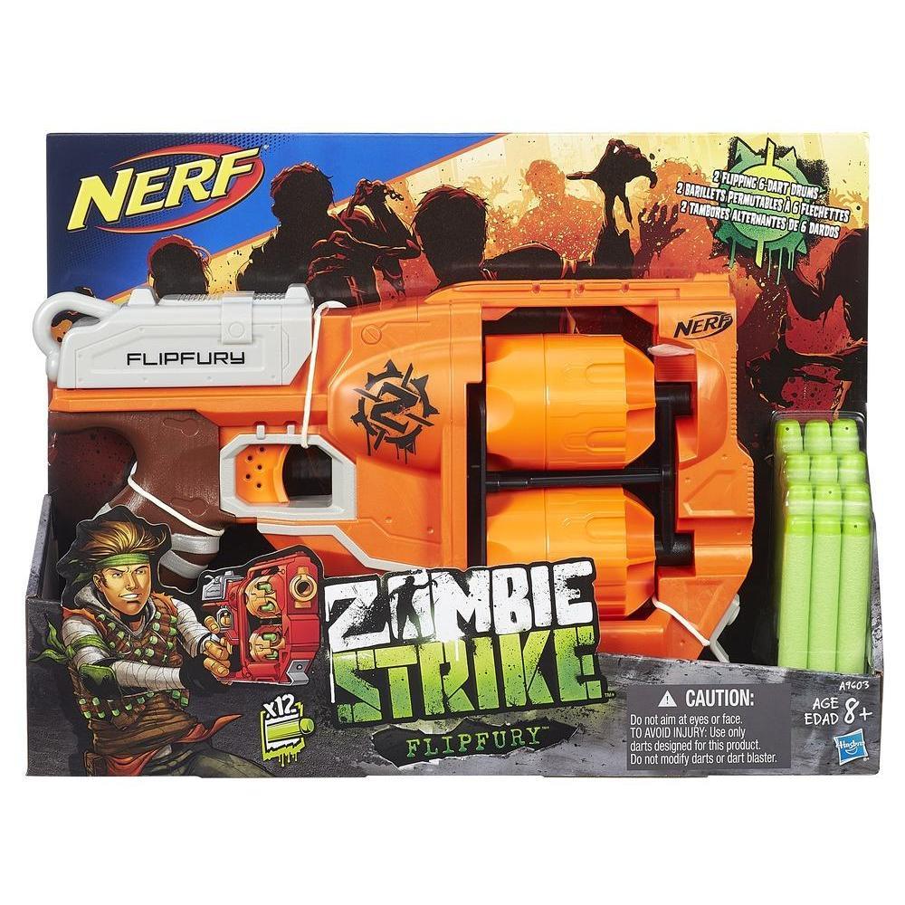 FlipFury Nerf Zombie Strike Toy Blaster with 2 Flipping Drums and 12 Official Nerf Zombie Strike Elite Darts – For Kids, Teens, Adults