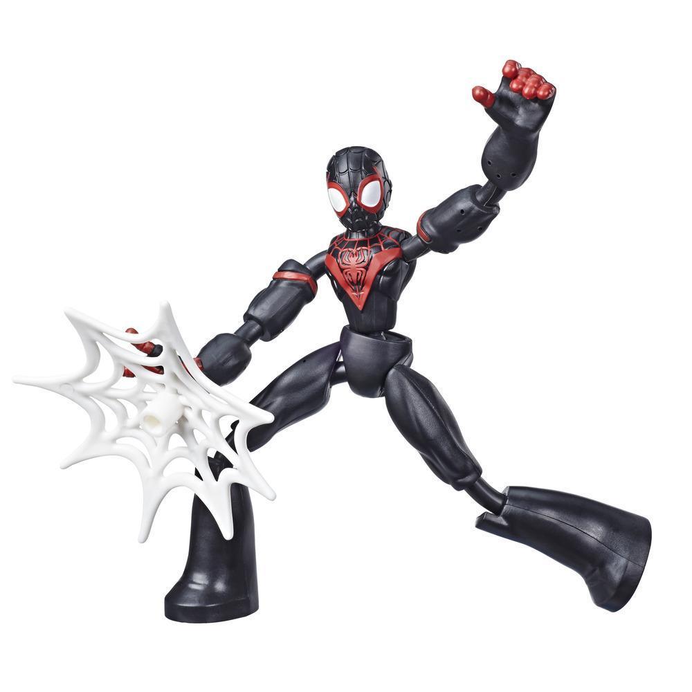 Marvel Spider-Man Bend and Flex Miles Morales-actionfigur, 15cm høj bøjelig figur, nettilbehør medfølger, fra 6år
