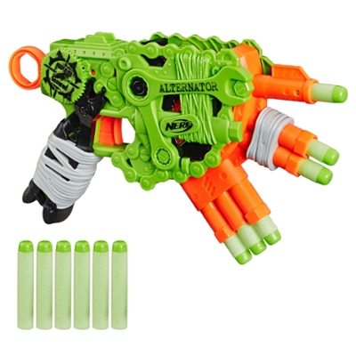 Nerf Zombie Strike Alternator Blaster – indeholder 12 originale Nerf Zombie Strike Elite-pile – til børn, teenagere og voksne