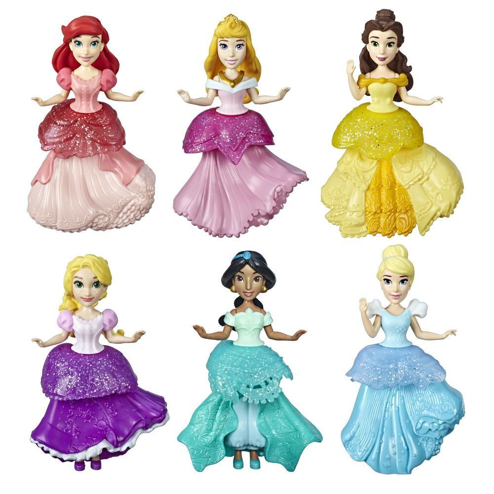 Disney Princess Collectible Dolls, Set of 6 with 6 Royal Clips Fashions, One-Clip Dresses, Toy for 3 year olds and up
