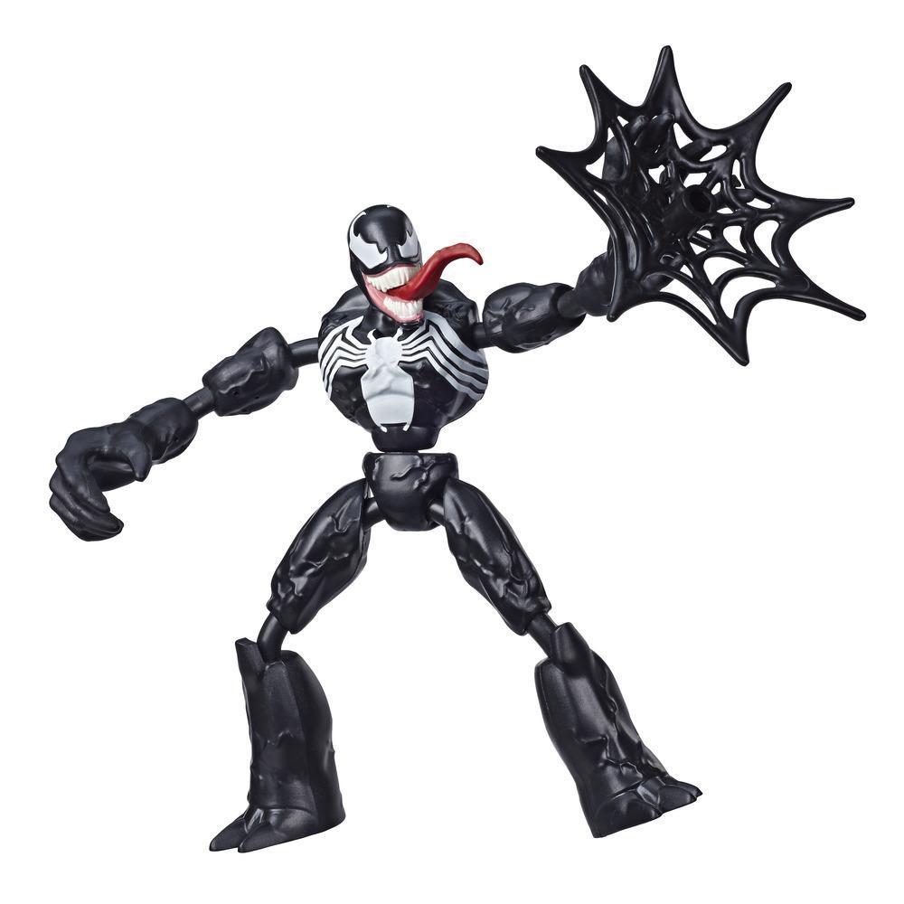 Marvel Spider-Man Bend and Flex Venom-actionfigur, 15cm høj bøjelig figur, nettilbehør medfølger, fra 6år