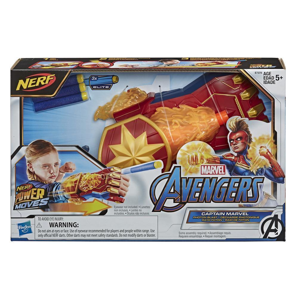NERF Power Moves Marvel Avengers Captain Marvel Photon Blast NERF, pileaffyrende legetøj, rollespil for børn, fra 5 år