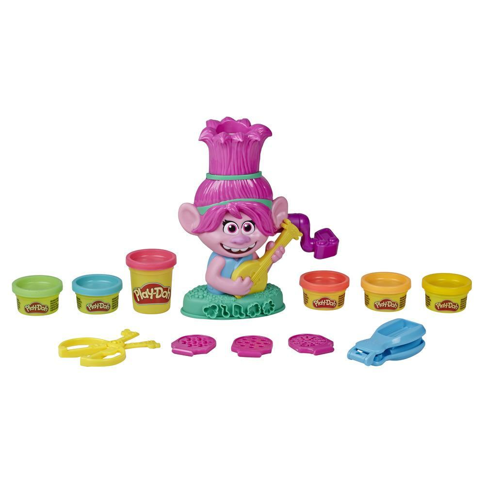 Play-Doh Trolls World Tour Rainbow Hair Poppy-legetøj, som man kan style, med 6 giftfri Play-Doh-farver