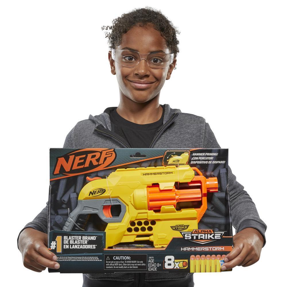 Nerf Alpha Strike Hammerstorm Blaster – ladehåndtag til hurtig affyring, roterende tromle, 8 originale Nerf Elite-pile – til børn, teenagere, voksne