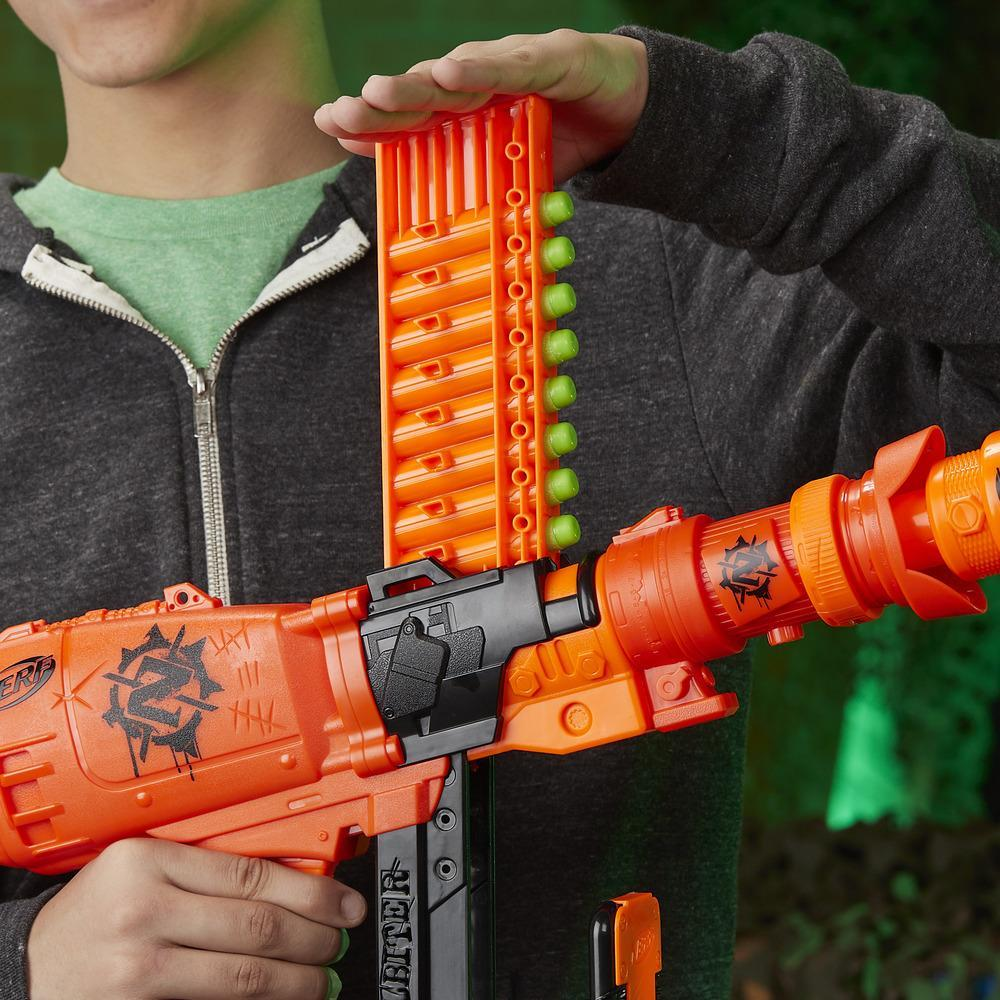 Nailbiter: Zoom & Doom Nerf Zombie Strike Toy Blaster with Indexing Clip, Stock, Barrel, 16 Official Zombie Strike Elite Darts – For Kids, Teens, Adults