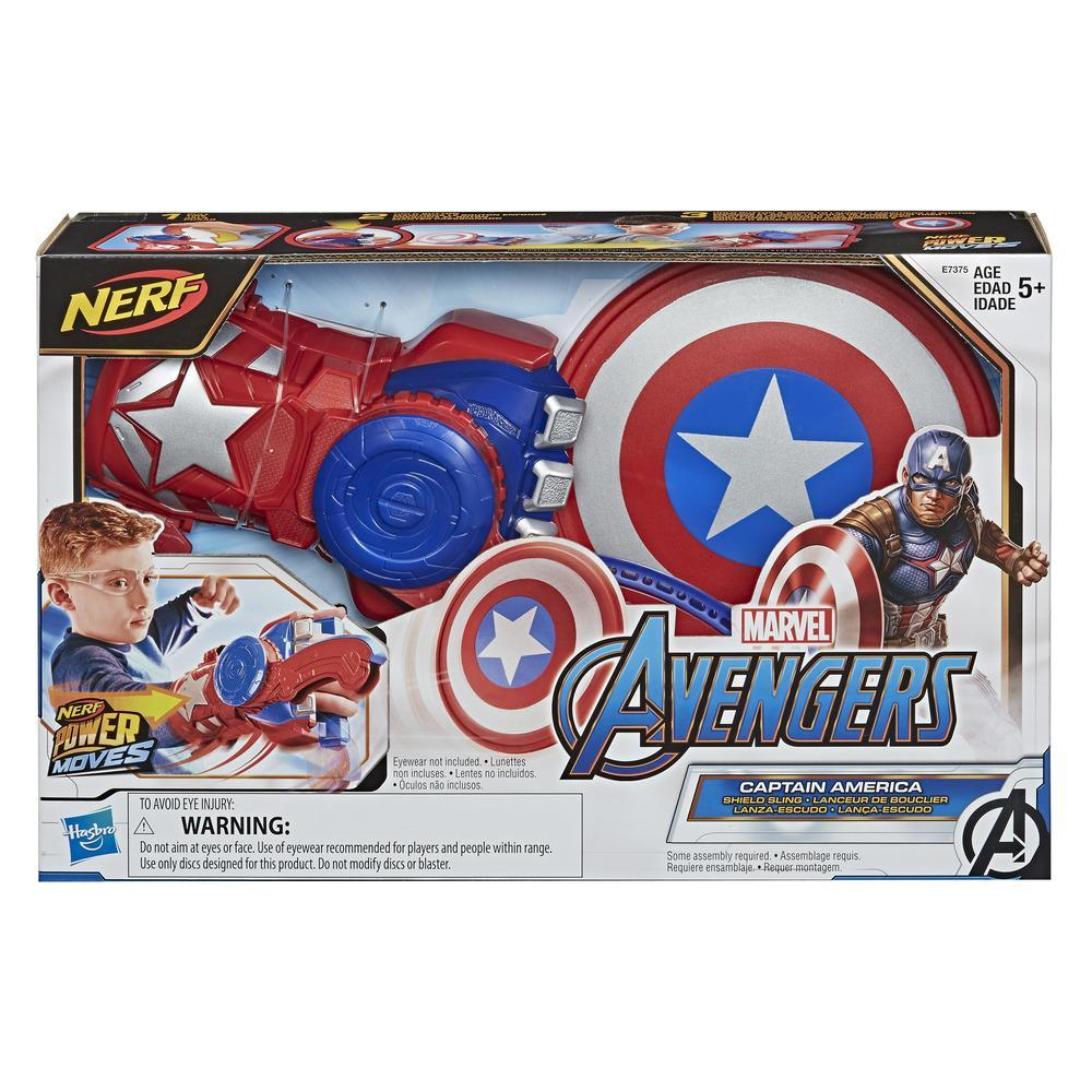 NERF Power Moves Marvel Avengers Captain America Shield Sling Disc-affyringslegetøj til rollespil for børn, børn fra 5 år