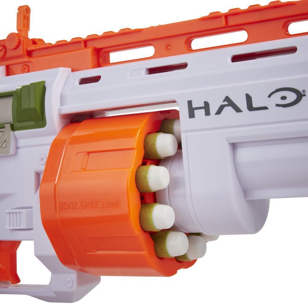 Nerf Halo Bulldog SG Blaster – Pump-Action, 10-Dart Trommel, Tactical Rail Steckschienen, 10 Nerf Darts, Skin-Code