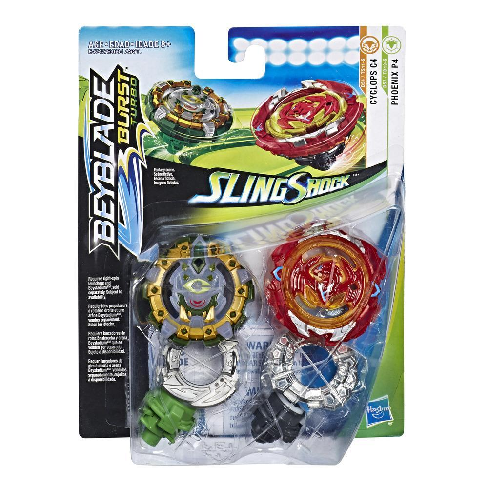 Beyblade Burst SlingShock Dual Packs Phoenix P4 and Cyclops C4