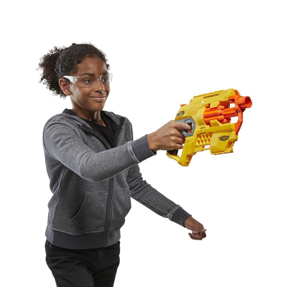 Alpha Strike Hammerstorm Blaster – Spannen des Spannhebels, 8 Nerf Darts – für Kinder, Teenager, Erwachsene