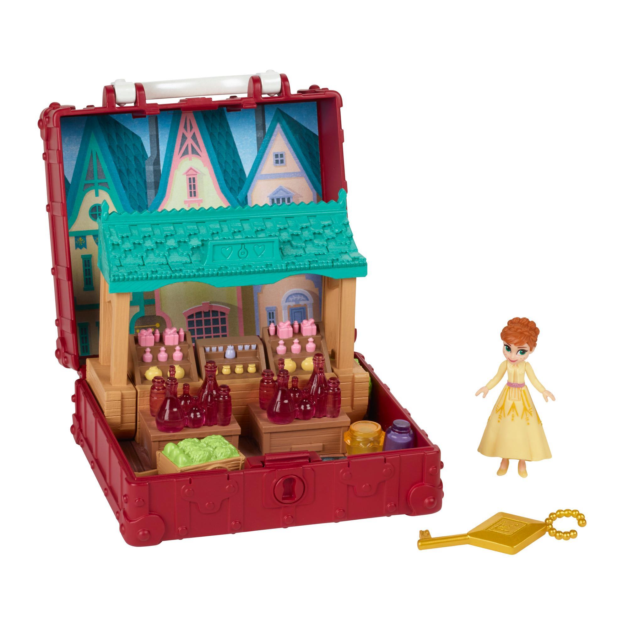 Disney Eiskönigin Pop-Up Abenteuer Dorfset Spielset mit Griff, inklusive Anna Puppe zum Disney Film Die Eiskönigin 2