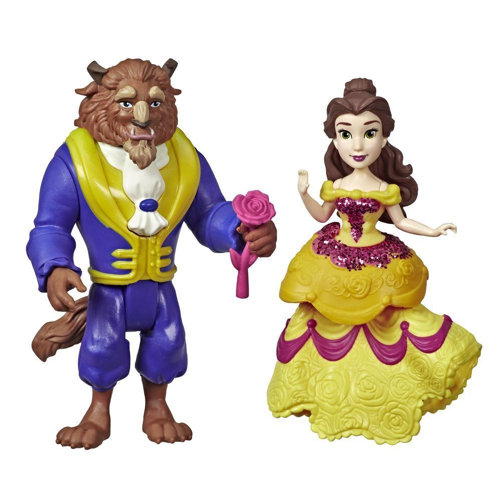 Disney Princess Belle and Beast Collectible Dolls With One-Clip Outfit and Rose Accessory, Royal Clips Fashion Toy for 3 year olds and up