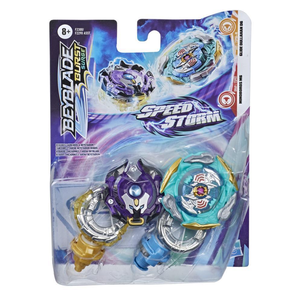 Beyblade Burst Surge Speedstorm Glide Dullahan D6 und Minoboros M6 Kreisel Doppelpack – 2 Battle Kreisel, Spielzeug für Kinder