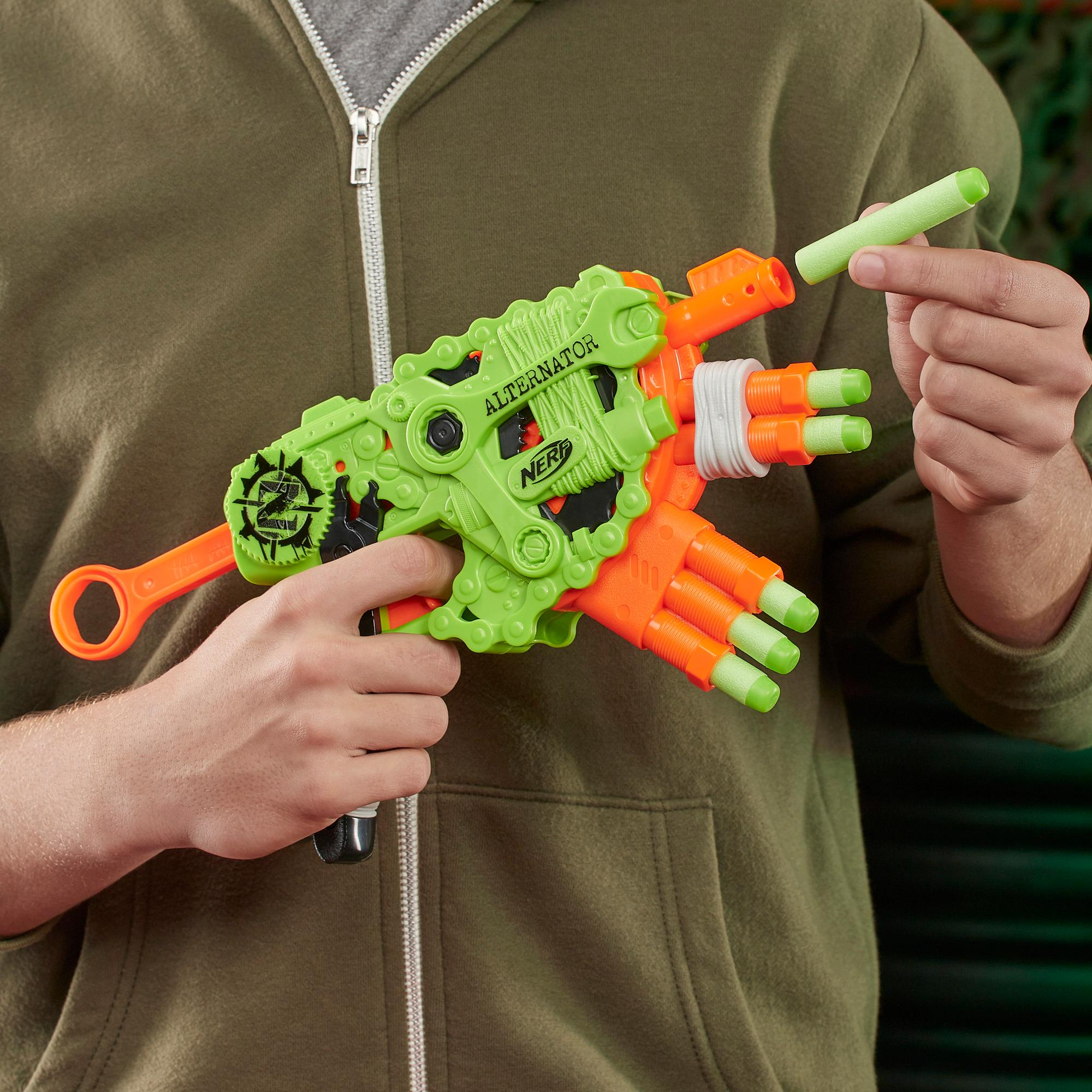 Nerf Zombie Strike Alternator Blaster – enthält 12 Nerf Zombie Strike Elite Darts – für Kinder, Teenager, Erwachsene
