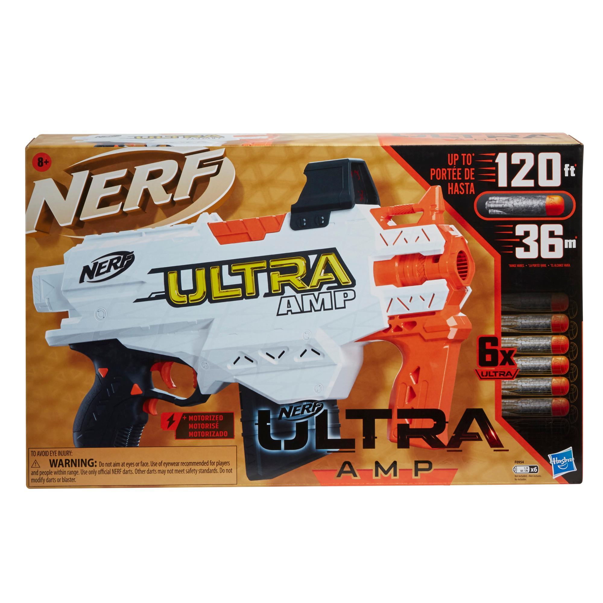 Nerf Ultra Platinum Amp motorisierter Blaster, Platinakzente, 6-Dart Clip, 6 Darts, nur mit Nerf Ultra Darts kompatibel