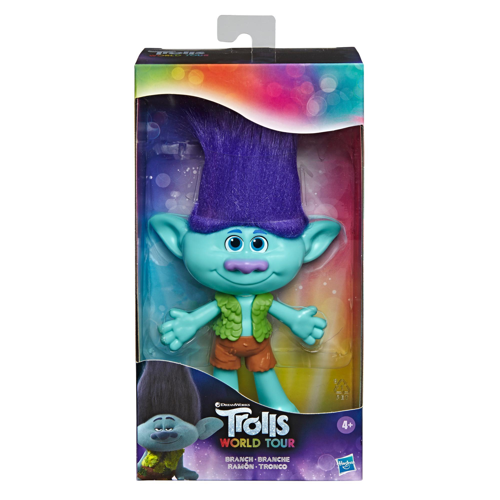 DreamWorks Trolls Branch Puppe mit abnehmbarer Weste und Shorts, inspiriert vom Film Trolls World Tour, Spielzeug für Mädchen ab 4