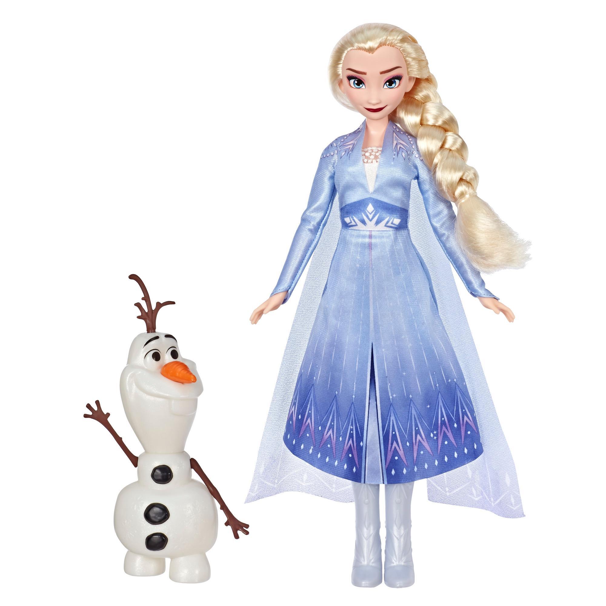 Disney Die Eiskönigin Elsa und Olaf, Modepuppe mit Freund, mit langem blondem Haar und blauem Outfit zu Die Eiskönigin 2