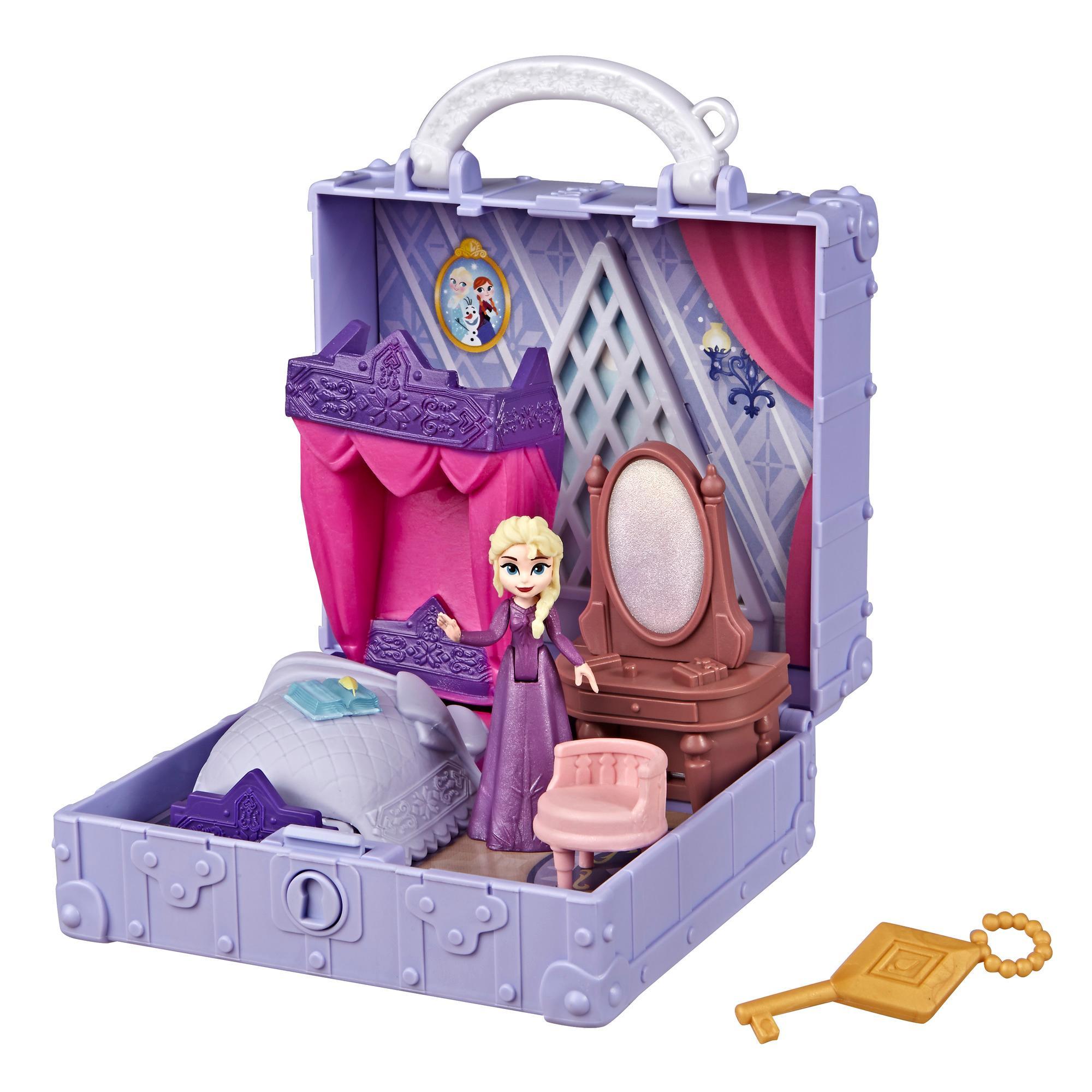 Disney Eiskönigin Pop-Up Abenteuer Elsas Zimmer Spielset mit Griff, inklusive Elsa Puppe, Tagebuch, Stuhl und Decke