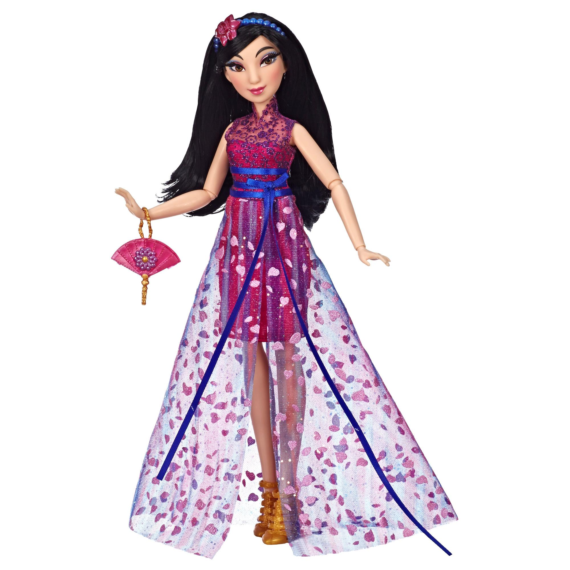 Disney Prinzessin Style Serie - Mulan Puppe in modernem Look mit Tasche und Schuhen