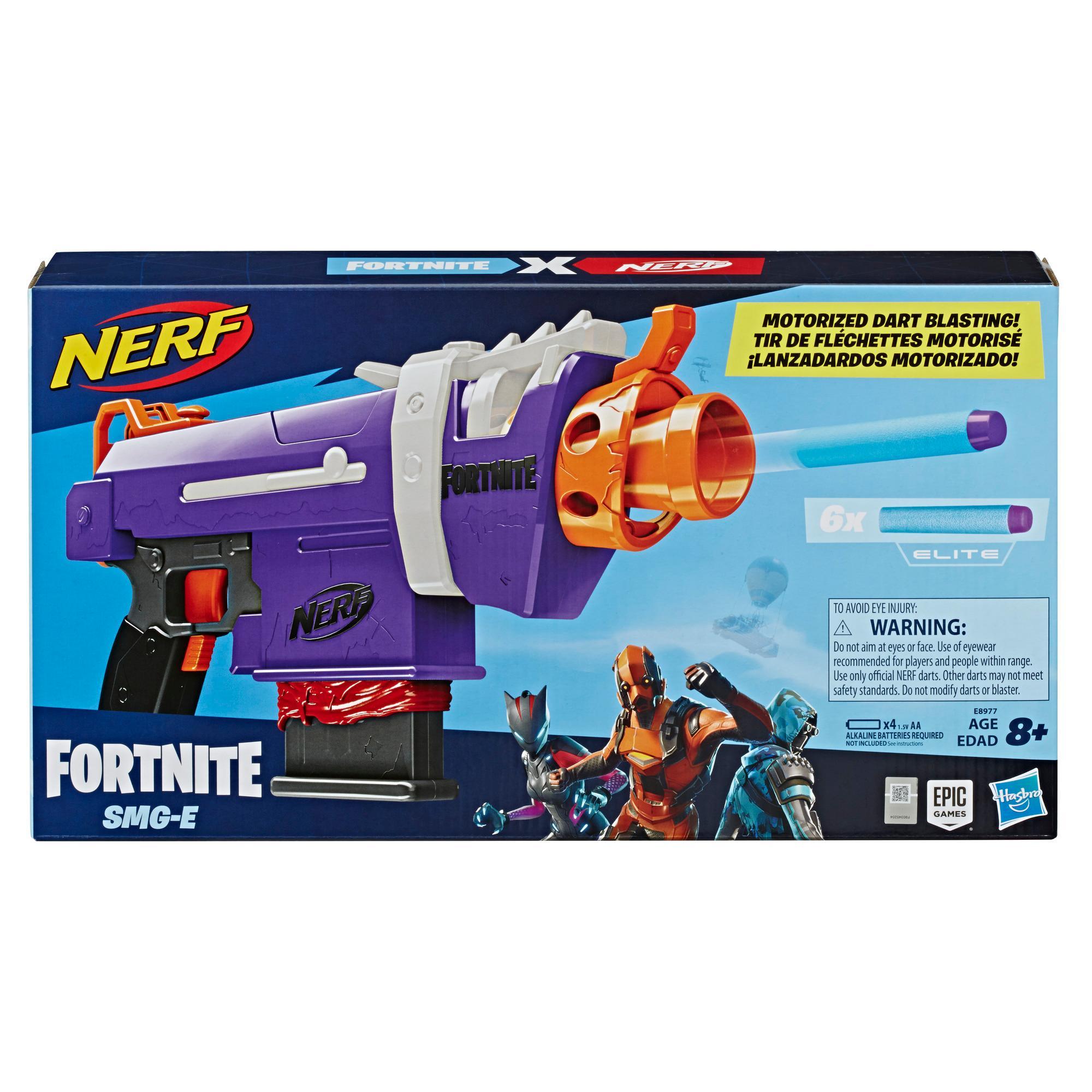 Μηχανοκίνητος εκτοξευτής Nerf Fortnite SMG-E -- Γεμιστήρας για 6 βελάκια, 6 επίσημα βελάκια Nerf Elite -- Για μεγάλα παιδιά, εφήβους, ενήλικες