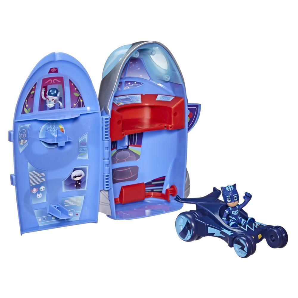 PJ Masks 2-in-1 HQ Playset, Headquarters and Rocket Preschool Toy with Action Figure and Vehicle for Kids Ages 3 and Up