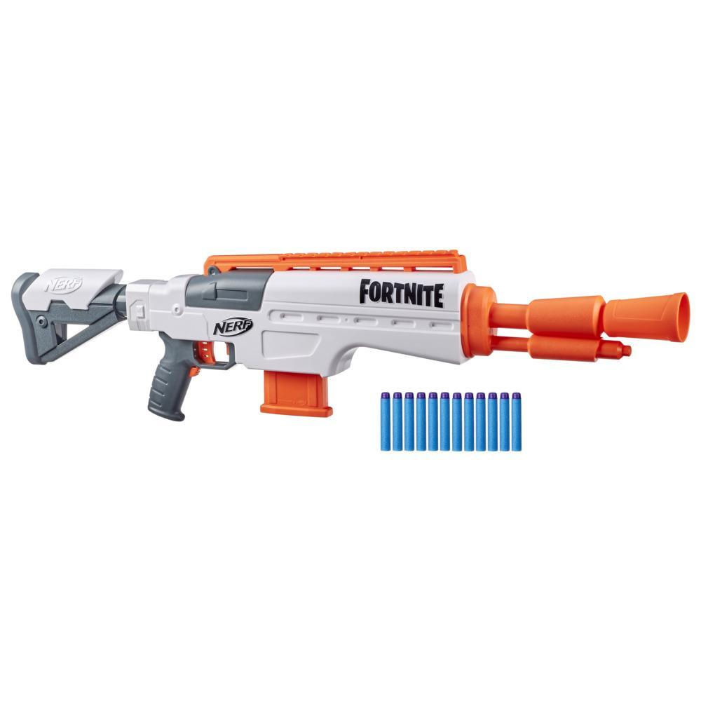Nerf Fortnite IR Motorized Blaster -- Dart-Blasting Fortnite Blaster Replica -- 6-Dart Clip, 12 Nerf Darts