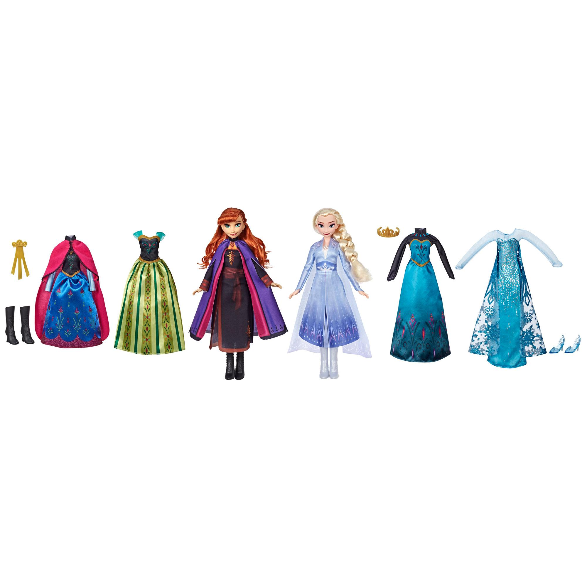 Disney Frozen Fashion Set, Anna and Elsa Fashion Dolls with 6 Outfits, Toy for Girls 3 and Up