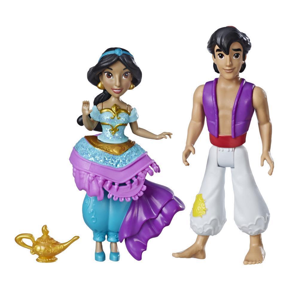 Disney Princess Jasmine and Aladdin, 2 Dolls, Royal Clips Fashion, One-Clip Skirt