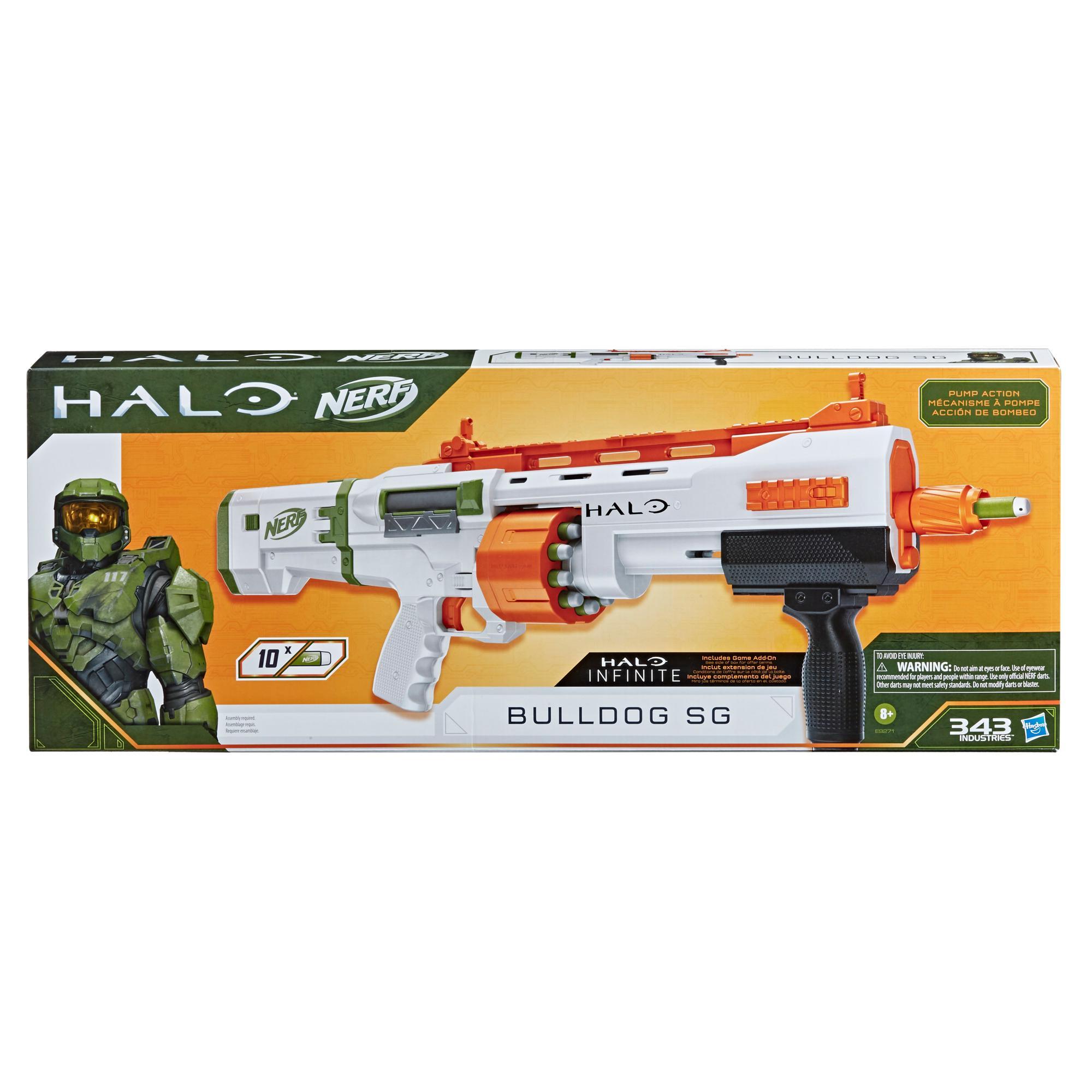 Nerf Halo Bulldog SG Dart Blaster -- Pump-Action, Rotating 10-Dart Drum, Tactical Rails, 10 Nerf Darts, Skin Unlock Code