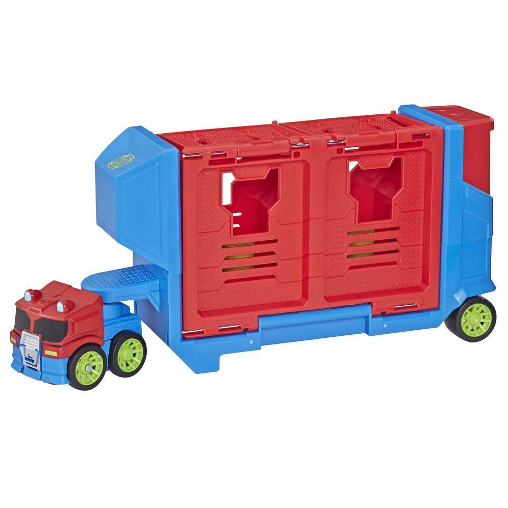 Playskool Heroes Transformers Rescue Bots Academy Flip Racers Optimus Prime Launcher Trailer