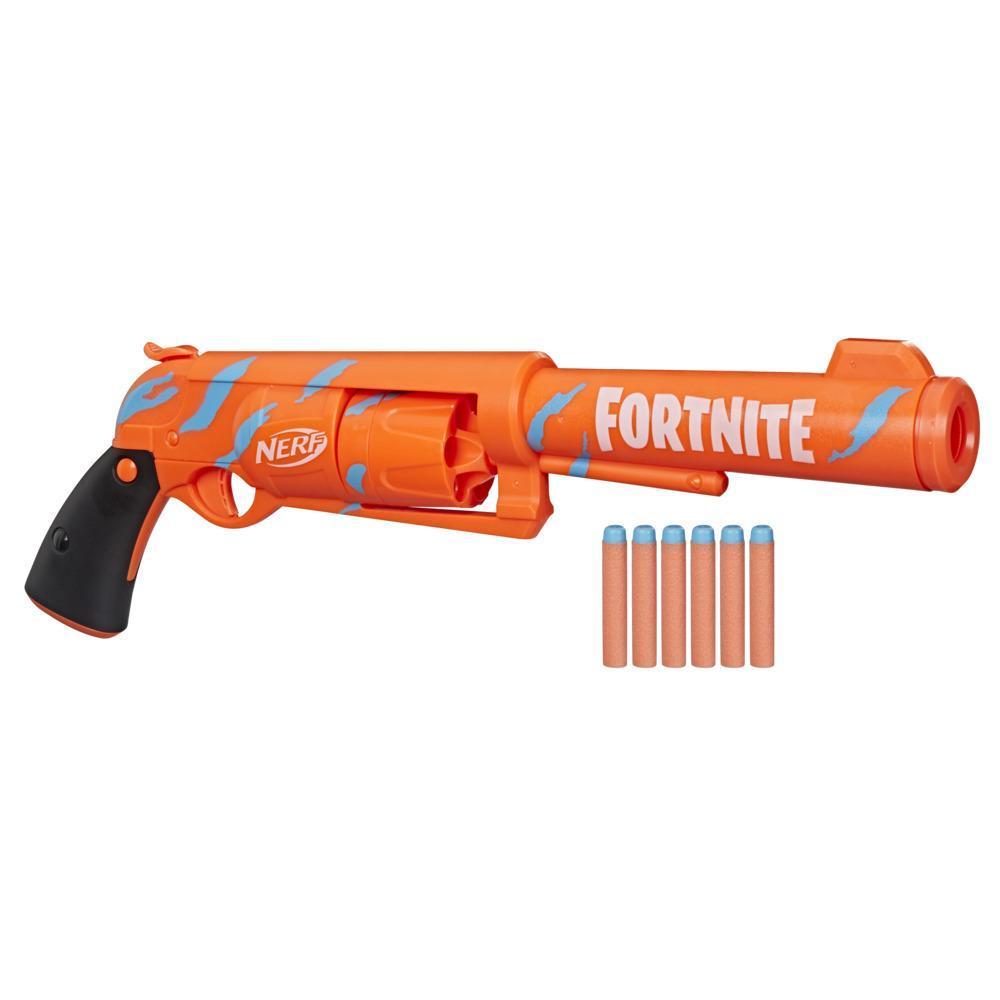 Nerf Fortnite 6-SH Dart Blaster -- Camo Pulse Wrap, Hammer Action Priming, 6-Dart Drum, 6 Nerf Elite Darts