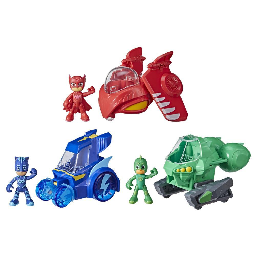 PJ Masks 3-in-1 Combiner Jet Preschool Toy, PJ Masks Toy Set with 3 Vehicles and 3 Action Figures, Kids Ages 3 and Up