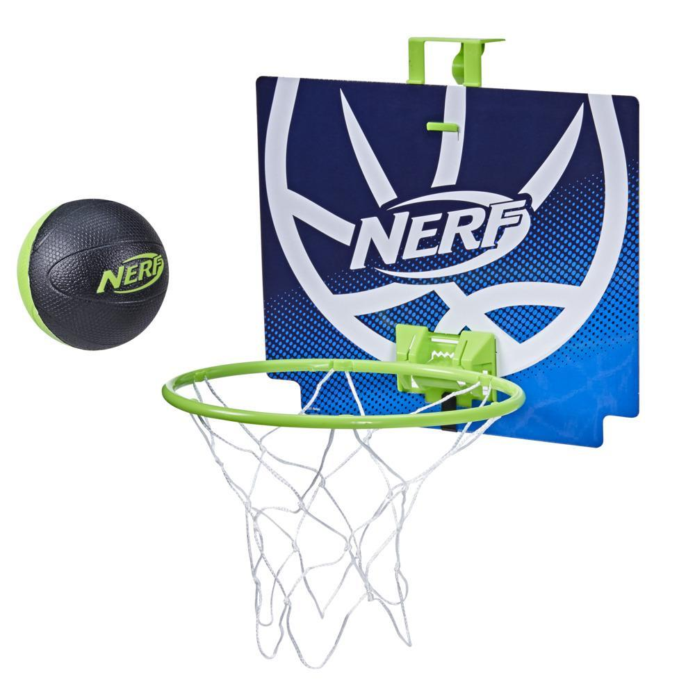 Nerf Nerfoop – The Classic Mini Foam Basketball and Hoop -- Hooks On Doors -- Indoor and Outdoor Play