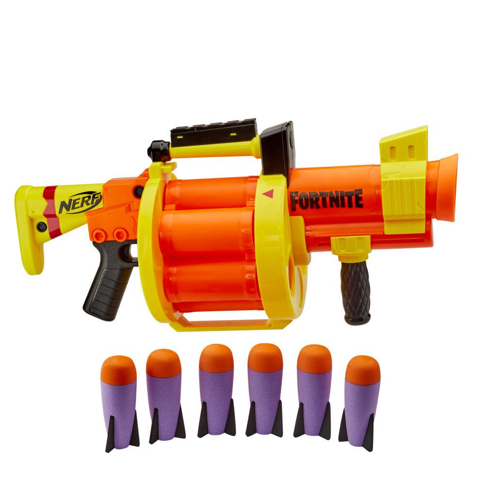 Nerf Fortnite GL Rocket-Firing Blaster --  6-Rocket Drum, Pump-To-Fire -- Includes 6 Official Nerf Rockets