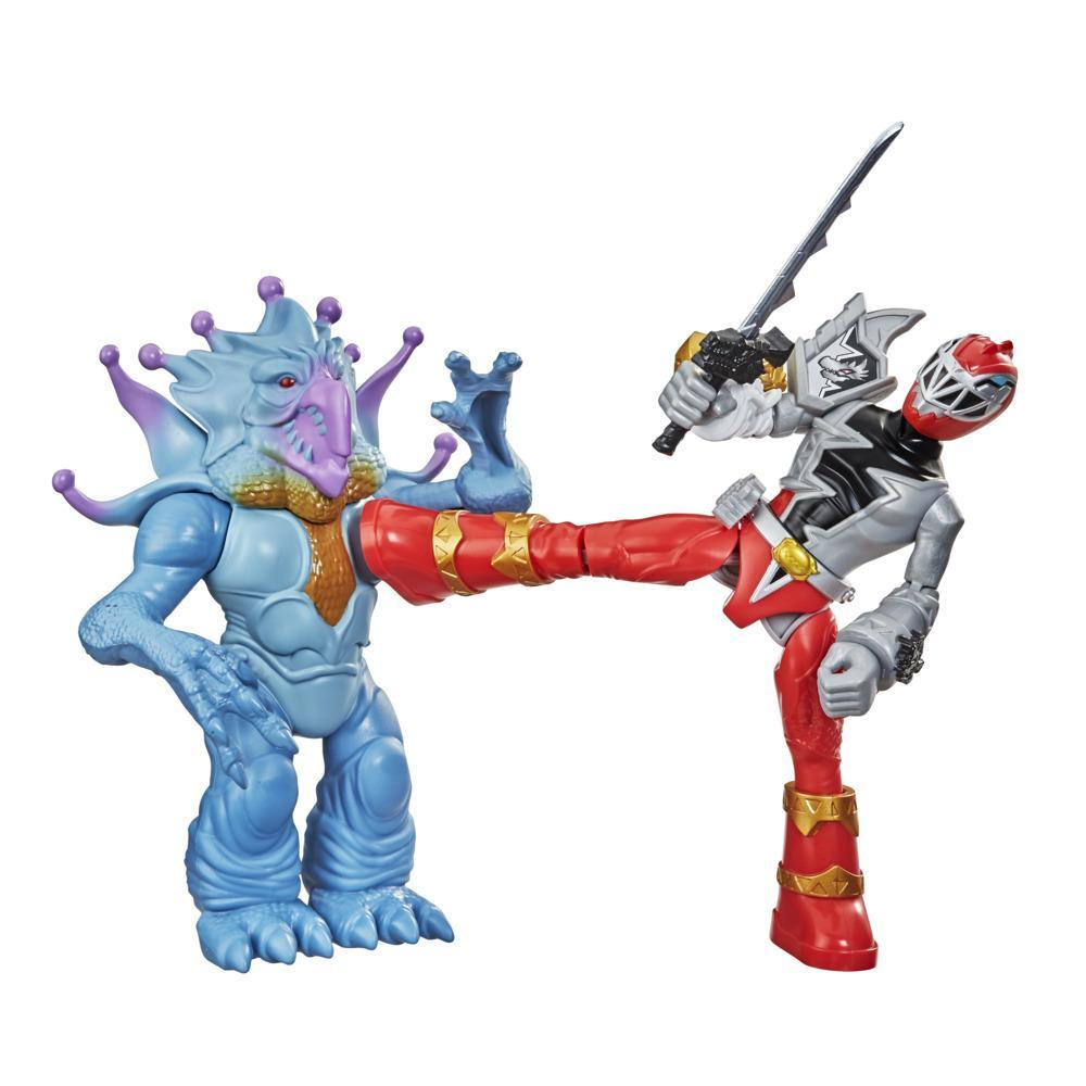 Power Rangers Dino Fury Battle Attackers 2-Pack Red Ranger vs. Doomsnake Kicking Action Figure Toys For Ages 4 and Up