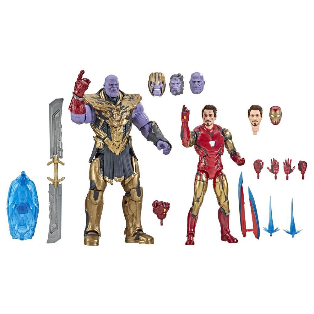 Hasbro Marvel Legends Series 6-inch Scale Action Figure Toy 2-Pack Iron Man Mark 85 vs. Thanos, Includes Premium Design and 8 Accessories