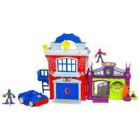 MARVEL Super Hero Adventures PLAYSKOOL HEROES CRIME-FIGHTIN' HEADQUARTERS with SPIDER-MAN and GREEN GOBLIN Playset